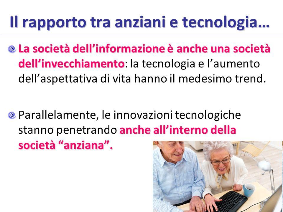 Il rapporto tra anziani e tecnologia… La società dellinformazione è anche una società dellinvecchiamento La società dellinformazione è anche una società dellinvecchiamento: la tecnologia e laumento dellaspettativa di vita hanno il medesimo trend.