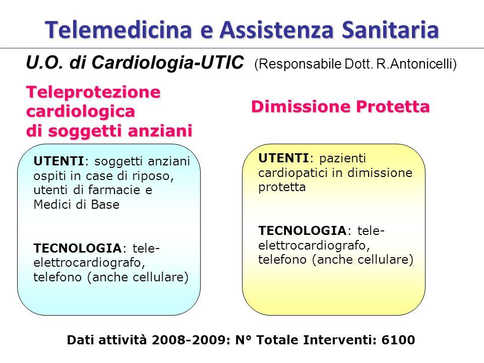 Telemedicina e Assistenza Sanitaria U.O. di Cardiologia-UTIC (Responsabile Dott. R.Antonicelli) Dimissione Protetta Teleprotezione cardiologica di sog