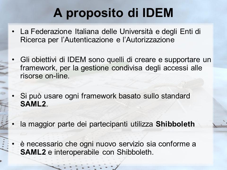 A proposito di IDEM La Federazione Italiana delle Università e degli Enti di Ricerca per lAutenticazione e lAutorizzazione Gli obiettivi di IDEM sono quelli di creare e supportare un framework, per la gestione condivisa degli accessi alle risorse on-line.