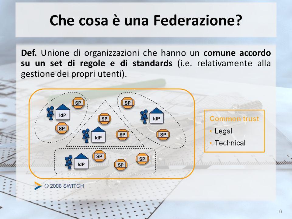 6 Che cosa è una Federazione? Def. Unione di organizzazioni che hanno un comune accordo su un set di regole e di standards (i.e. relativamente alla ge