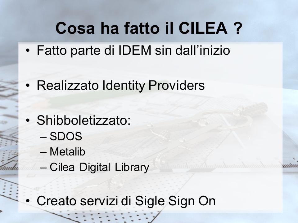 Cosa ha fatto il CILEA ? Fatto parte di IDEM sin dallinizio Realizzato Identity Providers Shibboletizzato: –SDOS –Metalib –Cilea Digital Library Creat