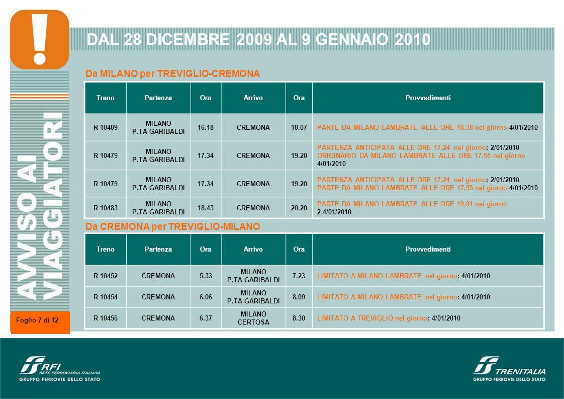 DAL 28 DICEMBRE 2009 AL 9 GENNAIO 2010 TrenoPartenzaOraArrivoOraProvvedimenti R 10489 MILANO P.TA GARIBALDI 16.18CREMONA18.07PARTE DA MILANO LAMBRATE