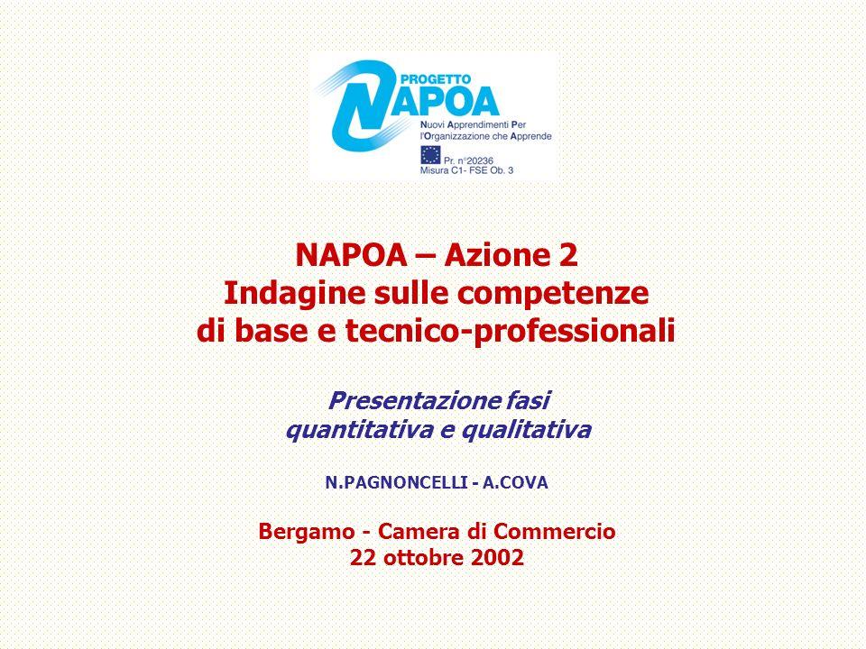 NAPOA – Azione 2 Indagine sulle competenze di base e tecnico-professionali Presentazione fasi quantitativa e qualitativa N.PAGNONCELLI - A.COVA Bergam
