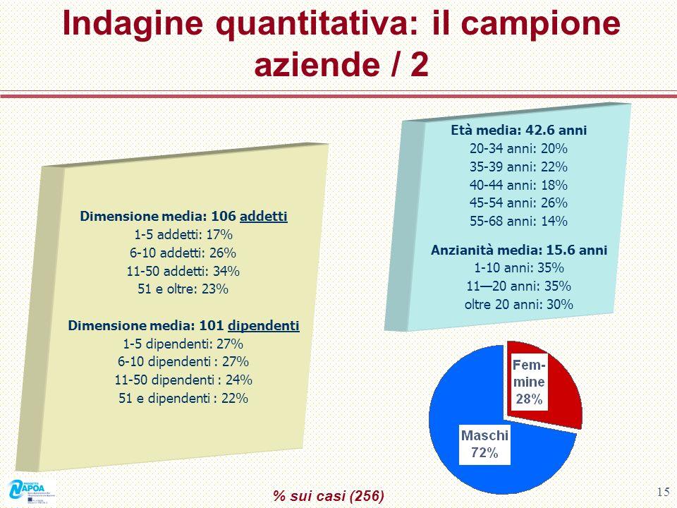 15 Indagine quantitativa: il campione aziende / 2 % sui casi (256) Età media: 42.6 anni 20-34 anni: 20% 35-39 anni: 22% 40-44 anni: 18% 45-54 anni: 26