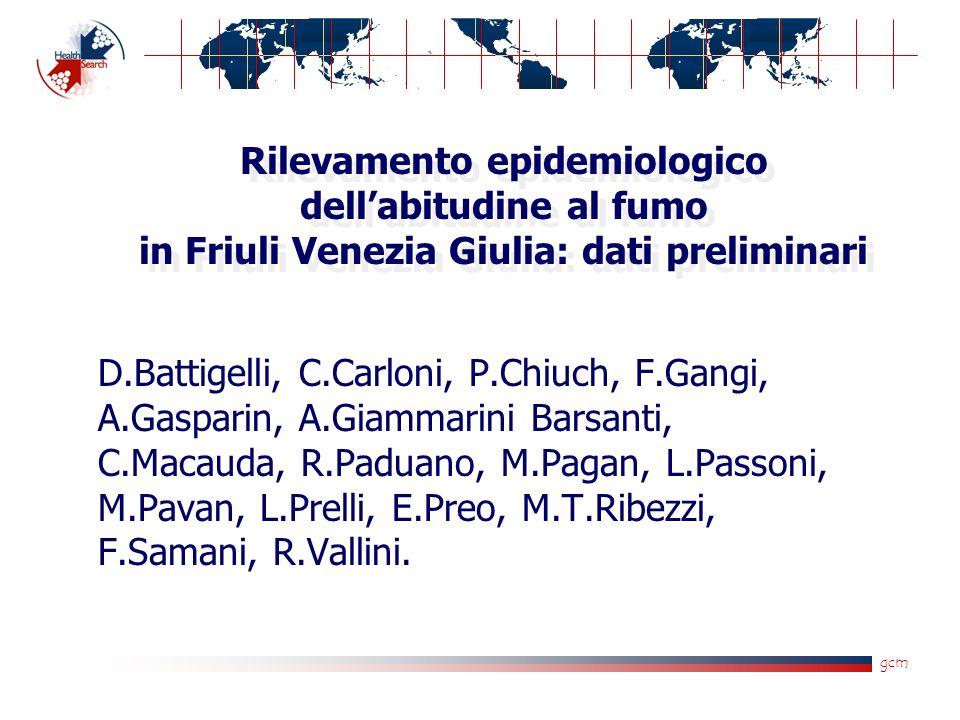 gcm Rilevamento epidemiologico dellabitudine al fumo in Friuli Venezia Giulia: dati preliminari D.Battigelli, C.Carloni, P.Chiuch, F.Gangi, A.Gasparin, A.Giammarini Barsanti, C.Macauda, R.Paduano, M.Pagan, L.Passoni, M.Pavan, L.Prelli, E.Preo, M.T.Ribezzi, F.Samani, R.Vallini.