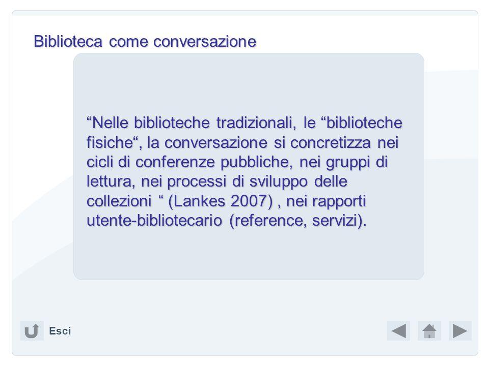 Sommario Esci BIBLIOTECA COME CONVERSAZIONE BIBLIOTECA COME CONVERSAZIONE WEB COME (BIBLIO) TECA WEB COME (BIBLIO) TECA RSS feed RSS feed TicTocs TicT