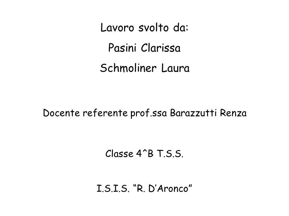 Lavoro svolto da: Pasini Clarissa Schmoliner Laura Classe 4^B T.S.S. I.S.I.S. R. DAronco Docente referente prof.ssa Barazzutti Renza