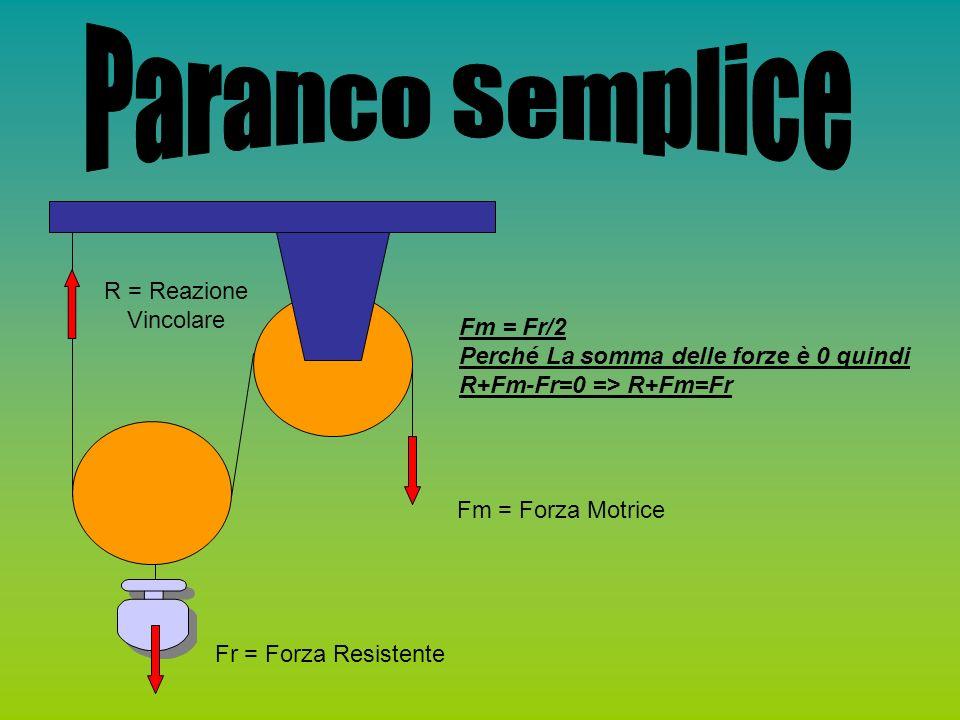 R = Reazione Vincolare Fr = Forza Resistente Fm = Forza Motrice Fm = Fr/2 Perché La somma delle forze è 0 quindi R+Fm-Fr=0 => R+Fm=Fr
