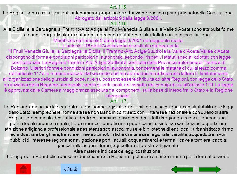 25 Art. 115. Le Regioni sono costituite in enti autonomi con propri poteri e funzioni secondo i principi fissati nella Costituzione. Abrogato dallarti