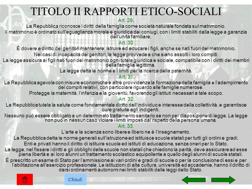 7 TITOLO II RAPPORTI ETICO-SOCIALI Art. 29. La Repubblica riconosce i diritti della famiglia come società naturale fondata sul matrimonio. Il matrimon