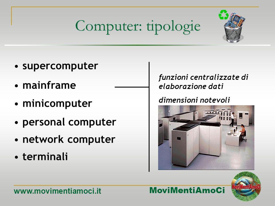 MoviMentiAmoCi www.movimentiamoci.it Computer: tipologie mainframe minicomputer personal computer network computer terminali supercomputer Maggiore po