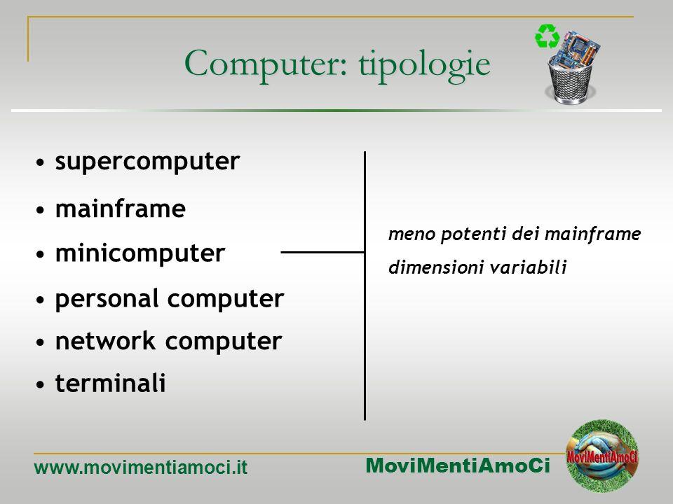 MoviMentiAmoCi www.movimentiamoci.it Computer: tipologie mainframe minicomputer personal computer network computer terminali supercomputer funzioni ce