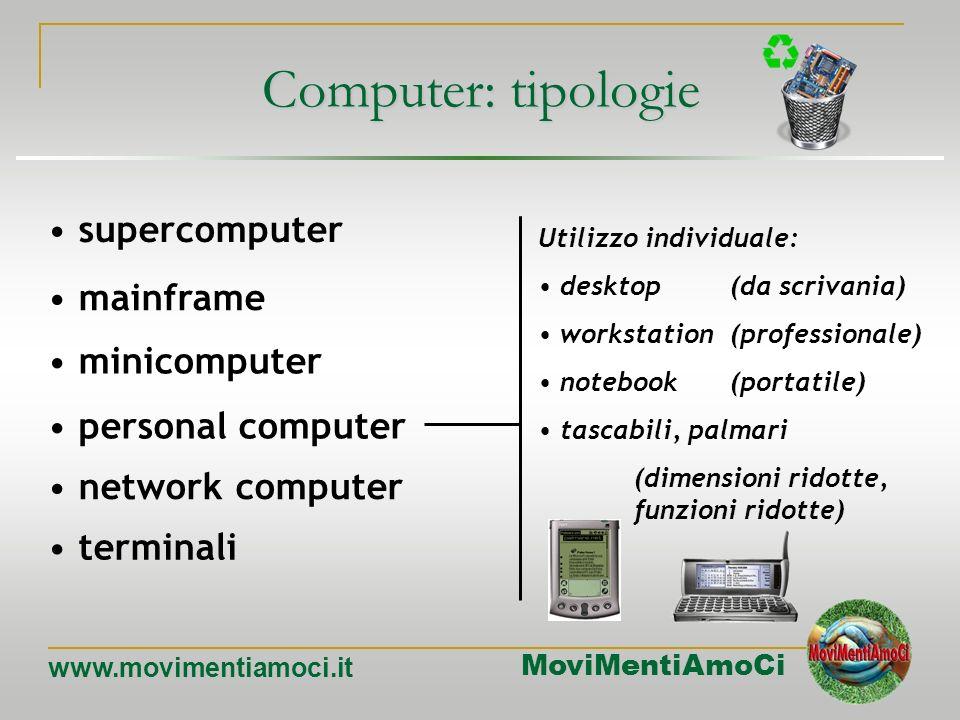 MoviMentiAmoCi www.movimentiamoci.it Computer: tipologie mainframe minicomputer personal computer network computer terminali supercomputer meno potent