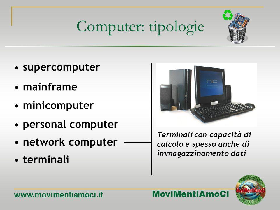 MoviMentiAmoCi www.movimentiamoci.it Computer: tipologie mainframe minicomputer personal computer network computer terminali supercomputer Utilizzo in