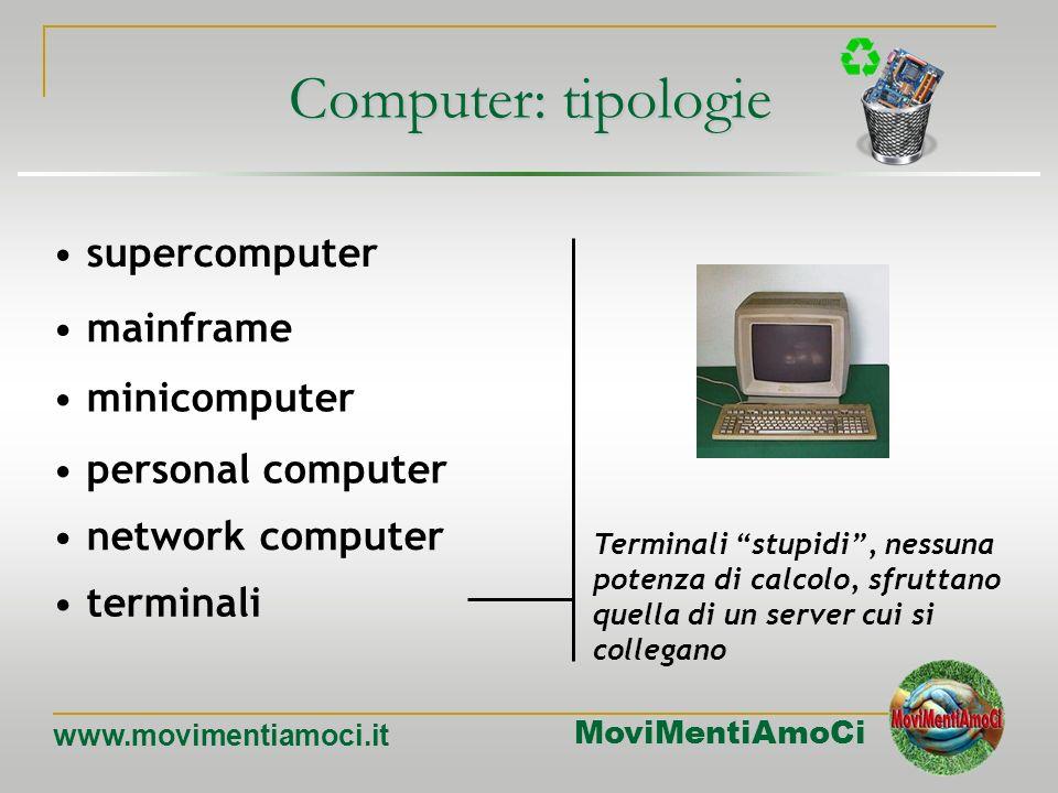 MoviMentiAmoCi www.movimentiamoci.it mainframe minicomputer personal computer network computer terminali supercomputer Terminali con capacità di calco