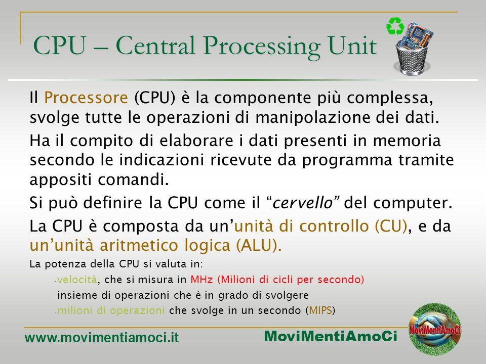 MoviMentiAmoCi www.movimentiamoci.it Il processore Il processore è il chip singolo più importante. La velocità a cui opera è, di solito, diverse volte