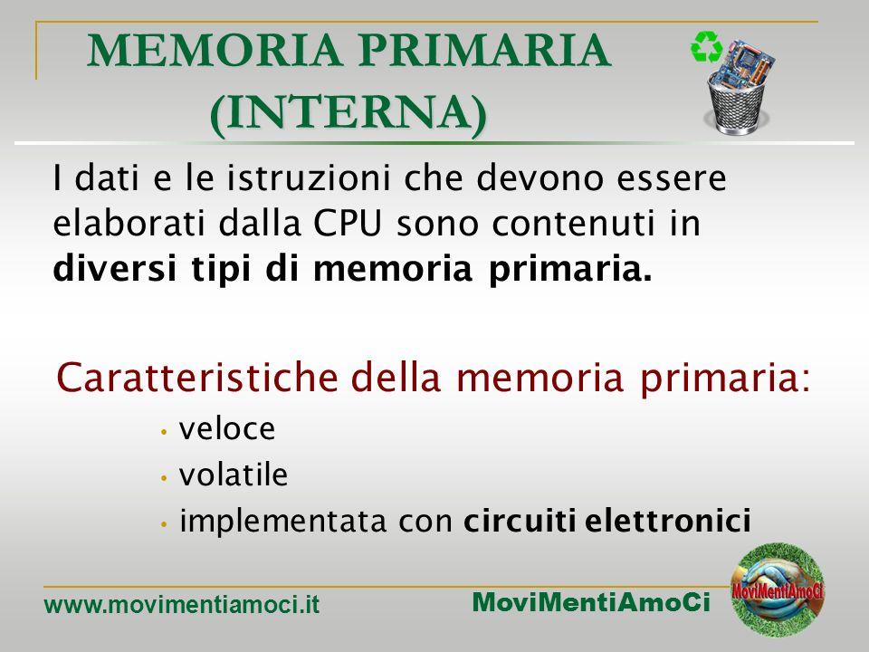 MoviMentiAmoCi www.movimentiamoci.it MEMORIE Nella memoria vengono archiviati tutti i dati che sono poi elaborati dalla CPU. Si distingue in: MEMORIA