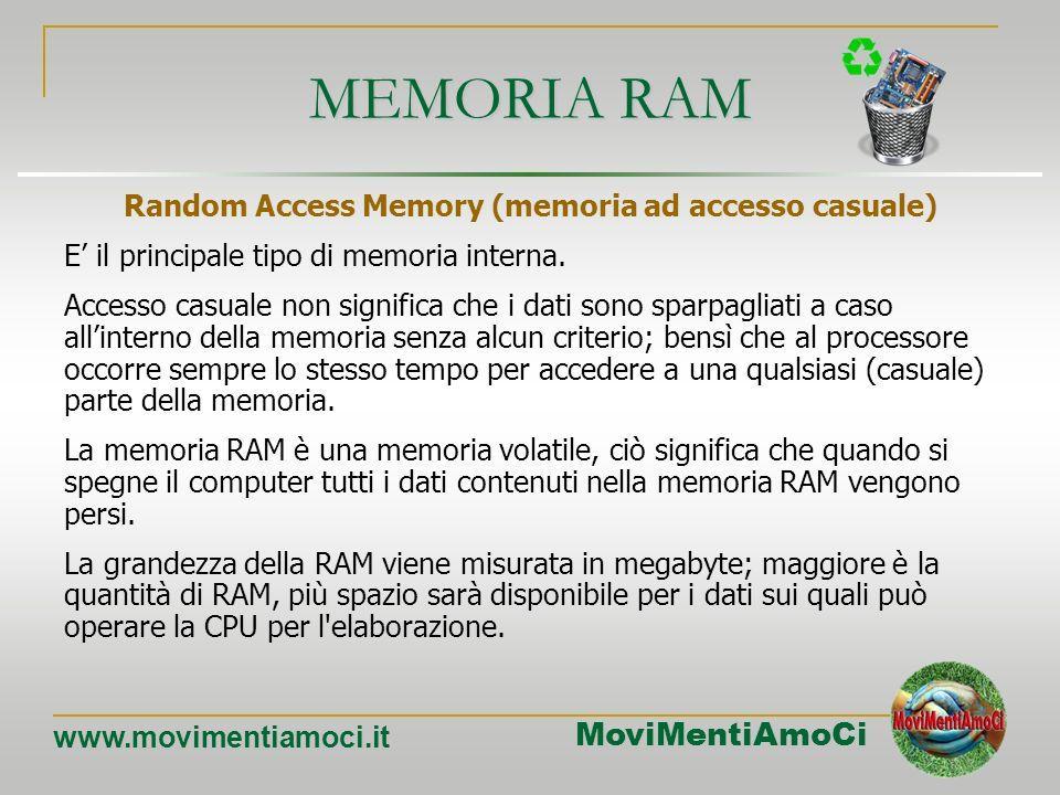 MoviMentiAmoCi www.movimentiamoci.it MEMORIA PRIMARIA (INTERNA) I dati e le istruzioni che devono essere elaborati dalla CPU sono contenuti in diversi
