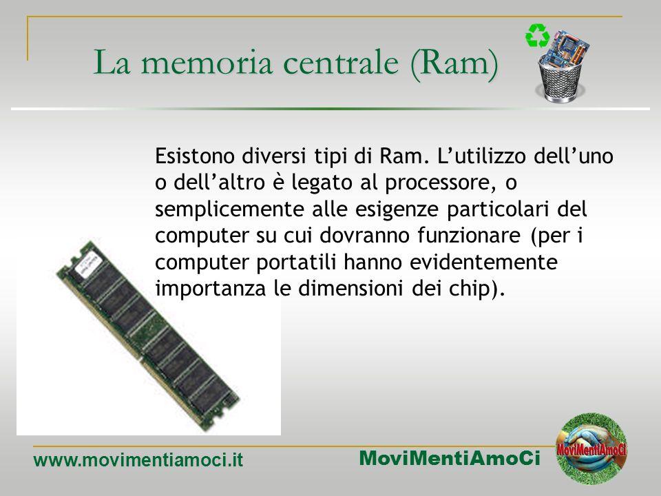 MoviMentiAmoCi www.movimentiamoci.it MEMORIA RAM Random Access Memory (memoria ad accesso casuale) E il principale tipo di memoria interna. Accesso ca