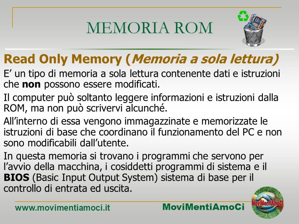 MoviMentiAmoCi www.movimentiamoci.it INDIRIZZAMENTO DI MEMORIA Ogni cella della memoria è identificata da un numero, chiamato Indirizzo di Memoria. In