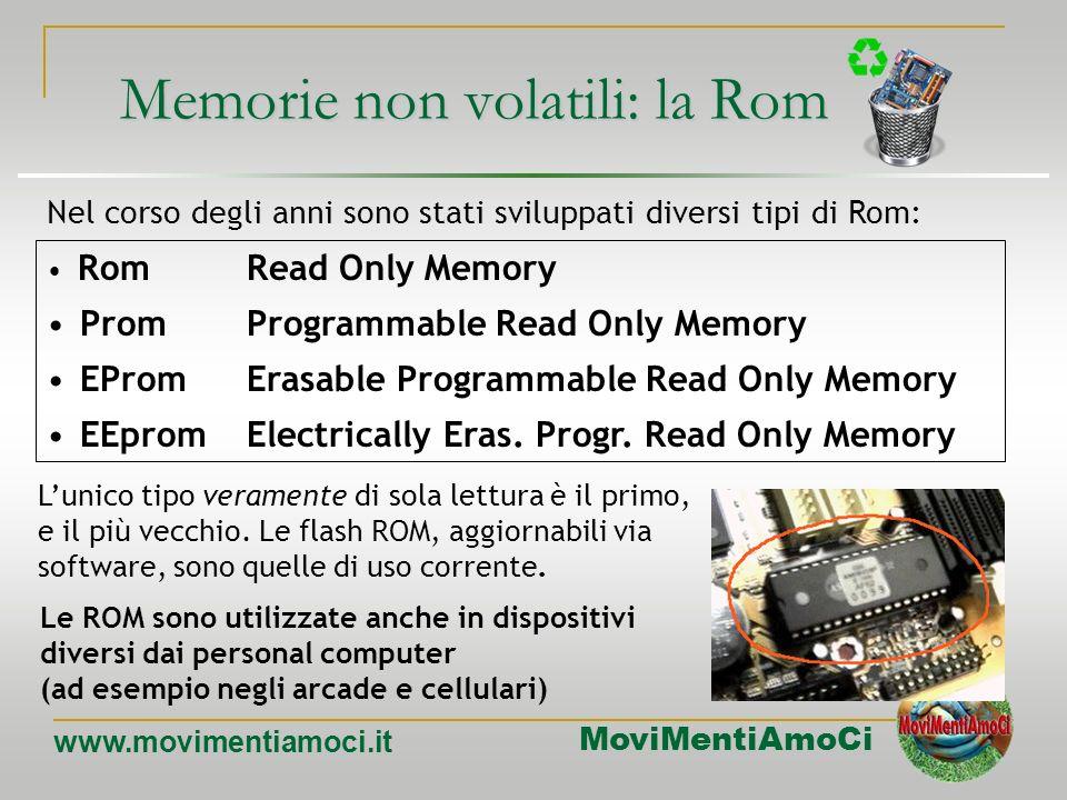 MoviMentiAmoCi www.movimentiamoci.it MEMORIA ROM Read Only Memory (Memoria a sola lettura) E un tipo di memoria a sola lettura contenente dati e istru
