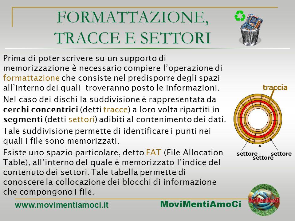 MoviMentiAmoCi www.movimentiamoci.it I dischi fissi Tecnologia impiegata:magnetica Capacità di memorizzazione:~120GB Velocità di accesso ai dati:alta,