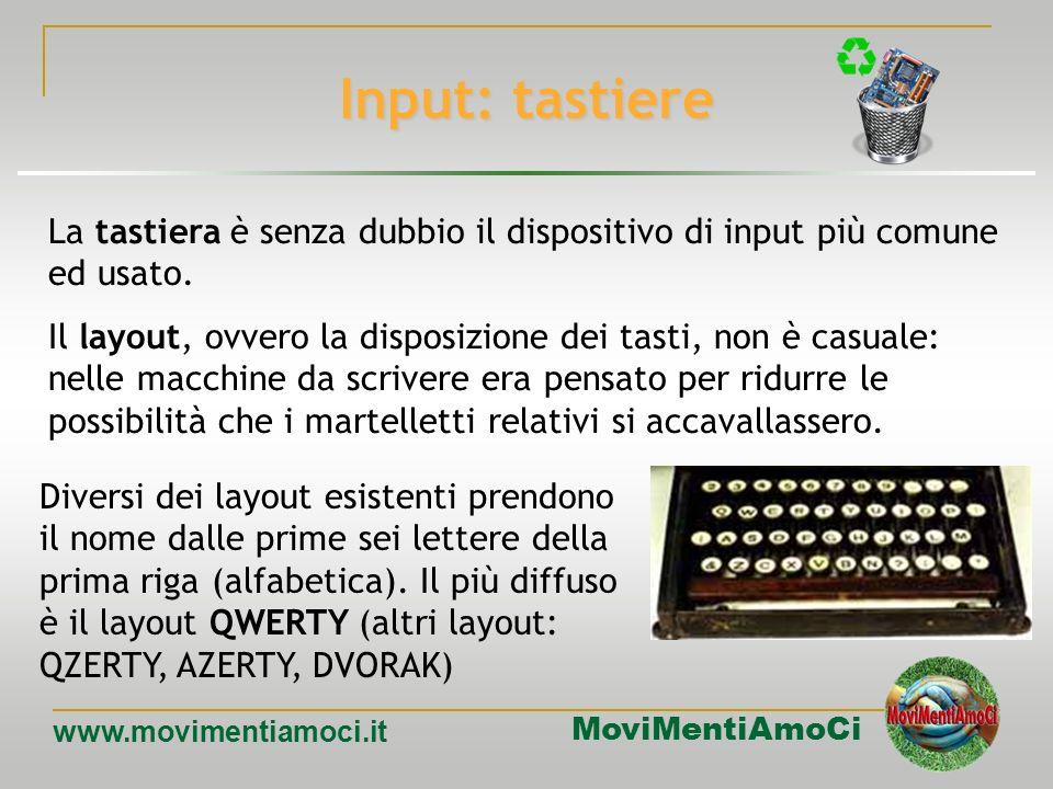 MoviMentiAmoCi www.movimentiamoci.it Dispositivi di I/O Processore Tastiera ScannerMouse Microfono Input Monitor Stampante Casse Output Masterizzatore