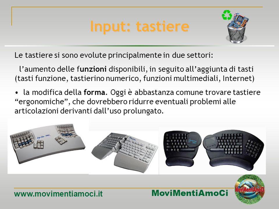 MoviMentiAmoCi www.movimentiamoci.it Input: tastiere Diversi dei layout esistenti prendono il nome dalle prime sei lettere della prima riga (alfabetic