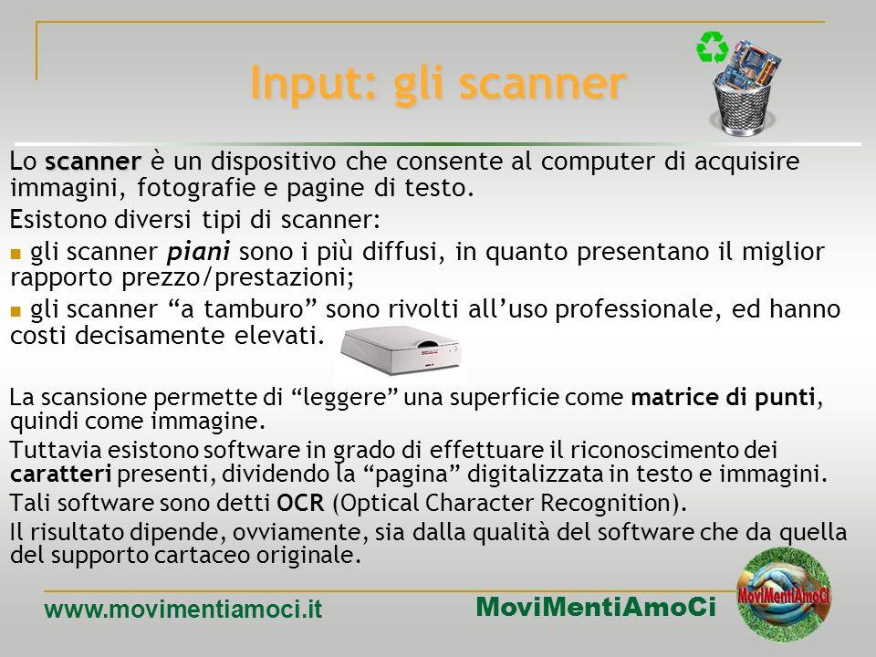 MoviMentiAmoCi www.movimentiamoci.it Input: tastiere Per luso con dispositivi portatili, e per quello in ambienti particolari, sono state create tasti