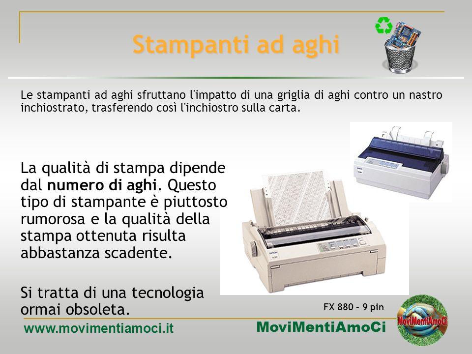 MoviMentiAmoCi www.movimentiamoci.it Dispositivi di output: stampanti Tecnologie di stampa principali ad aghi a trasferimento termico a getto dinchios