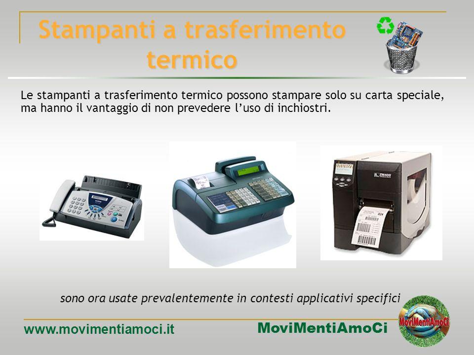 MoviMentiAmoCi www.movimentiamoci.it Stampanti ad aghi Le stampanti ad aghi sfruttano l'impatto di una griglia di aghi contro un nastro inchiostrato,