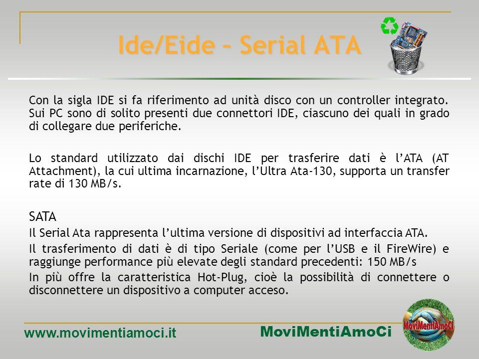 MoviMentiAmoCi www.movimentiamoci.it Interfacce di I/O In generale, si tratta dei collegamenti con le periferiche interne o esterne. Ide, EideIde, Eid
