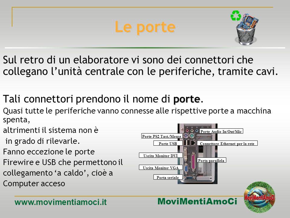 MoviMentiAmoCi www.movimentiamoci.it Ide/Eide – Serial ATA Con la sigla IDE si fa riferimento ad unità disco con un controller integrato. Sui PC sono