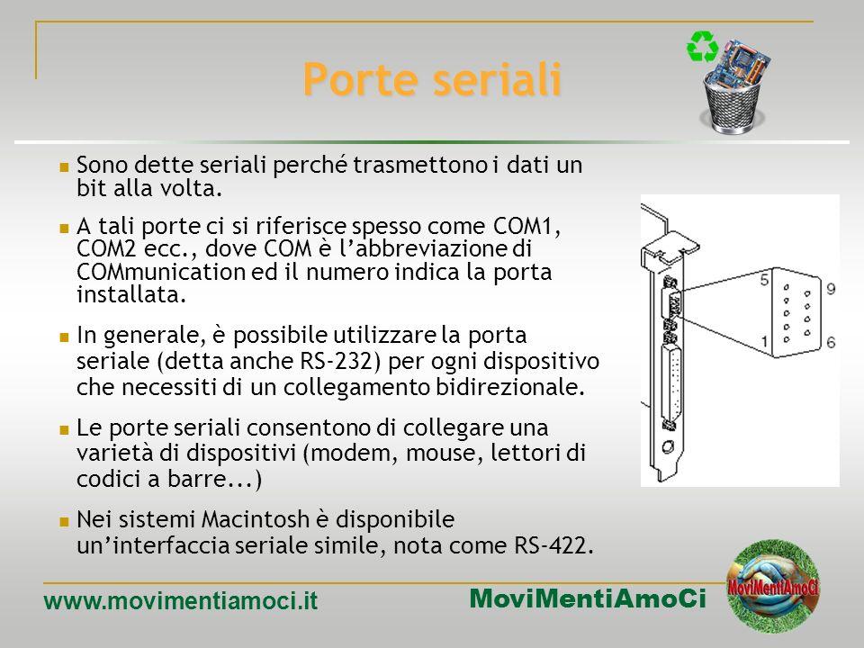 MoviMentiAmoCi www.movimentiamoci.it Le porte Sul retro di un elaboratore vi sono dei connettori che collegano lunità centrale con le periferiche, tra