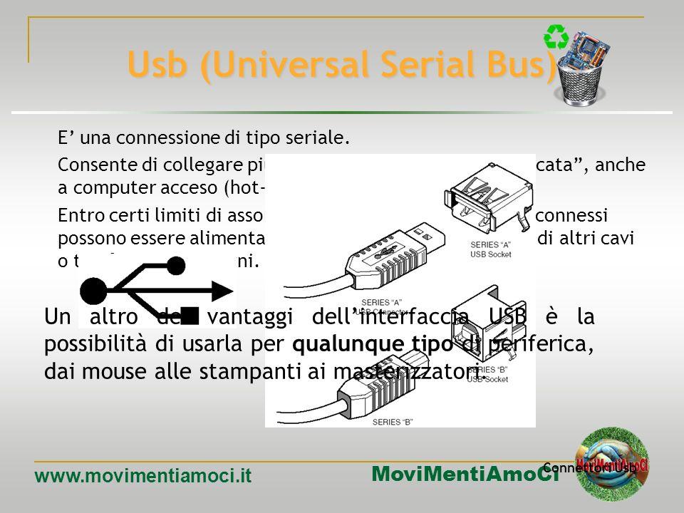MoviMentiAmoCi www.movimentiamoci.it Porte parallele Le interfacce di tipo parallelo trasmettono più bit contemporaneamente. Sui Pc di solito è presen