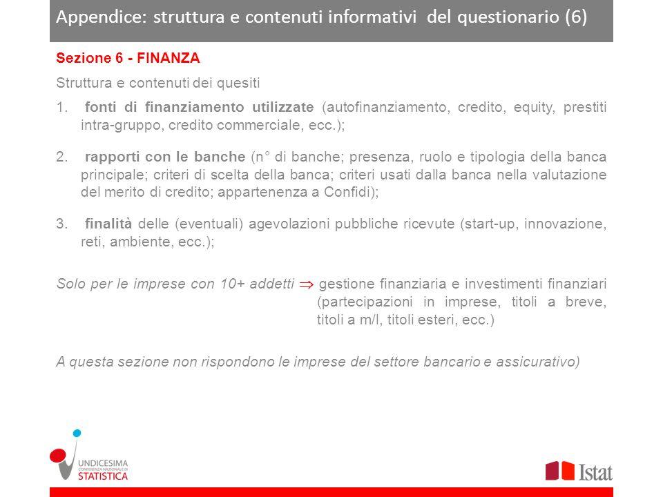 Appendice: struttura e contenuti informativi del questionario (6) Sezione 6 - FINANZA Struttura e contenuti dei quesiti 1.