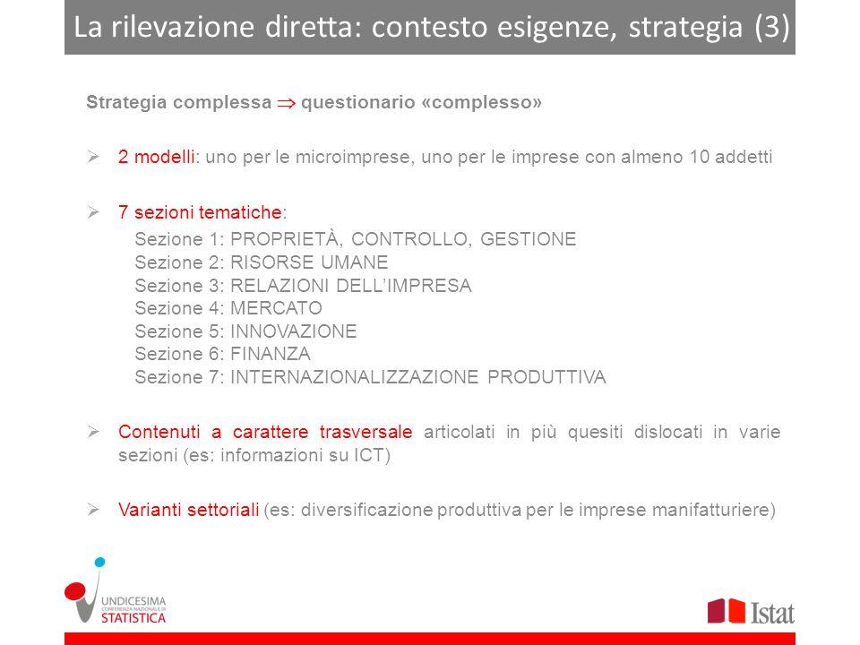 La rilevazione diretta: contesto esigenze, strategia (3) Strategia complessa questionario «complesso» 2 modelli: uno per le microimprese, uno per le imprese con almeno 10 addetti 7 sezioni tematiche: Sezione 1: PROPRIETÀ, CONTROLLO, GESTIONE Sezione 2: RISORSE UMANE Sezione 3: RELAZIONI DELLIMPRESA Sezione 4: MERCATO Sezione 5: INNOVAZIONE Sezione 6: FINANZA Sezione 7: INTERNAZIONALIZZAZIONE PRODUTTIVA Contenuti a carattere trasversale articolati in più quesiti dislocati in varie sezioni (es: informazioni su ICT) Varianti settoriali (es: diversificazione produttiva per le imprese manifatturiere)