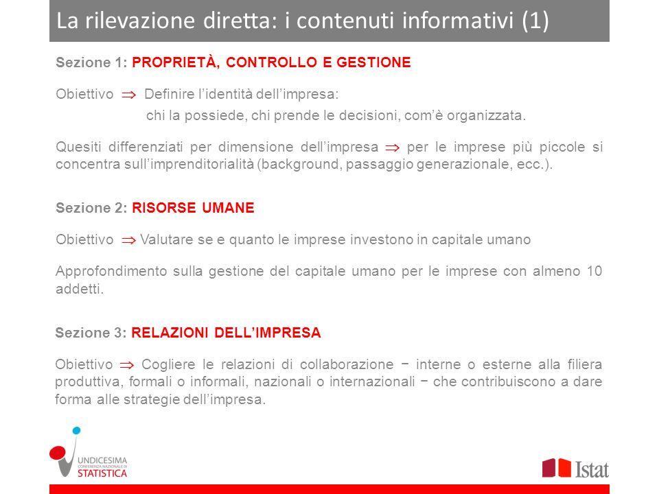 Appendice: struttura e contenuti informativi del questionario (2) Sezione 2 - RISORSE UMANE Struttura e contenuti dei quesiti 1.