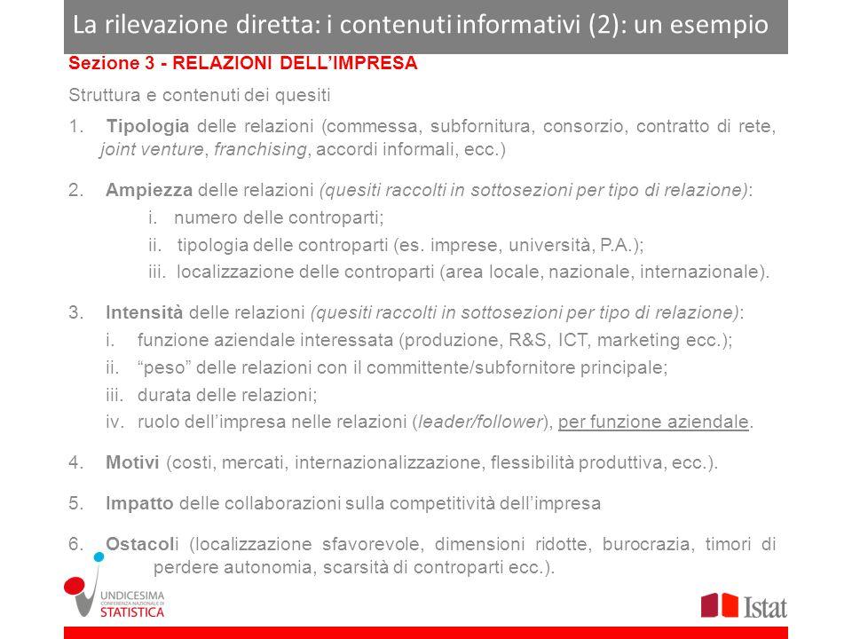 La rilevazione diretta: i contenuti informativi (2): un esempio Sezione 3 - RELAZIONI DELLIMPRESA Struttura e contenuti dei quesiti 1.