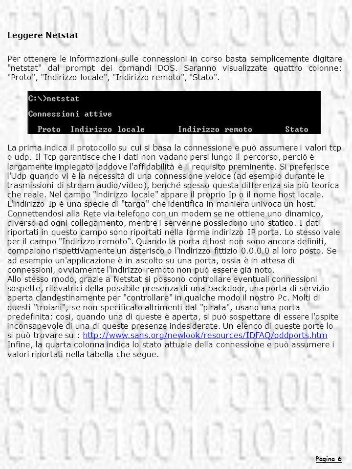 Pagina 6 Leggere Netstat Per ottenere le informazioni sulle connessioni in corso basta semplicemente digitare