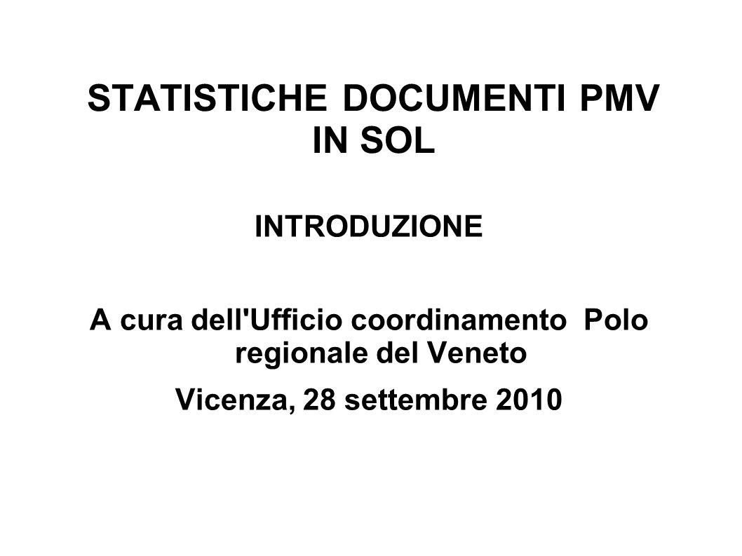 STATISTICHE DOCUMENTI PMV IN SOL INTRODUZIONE A cura dell Ufficio coordinamento Polo regionale del Veneto Vicenza, 28 settembre 2010