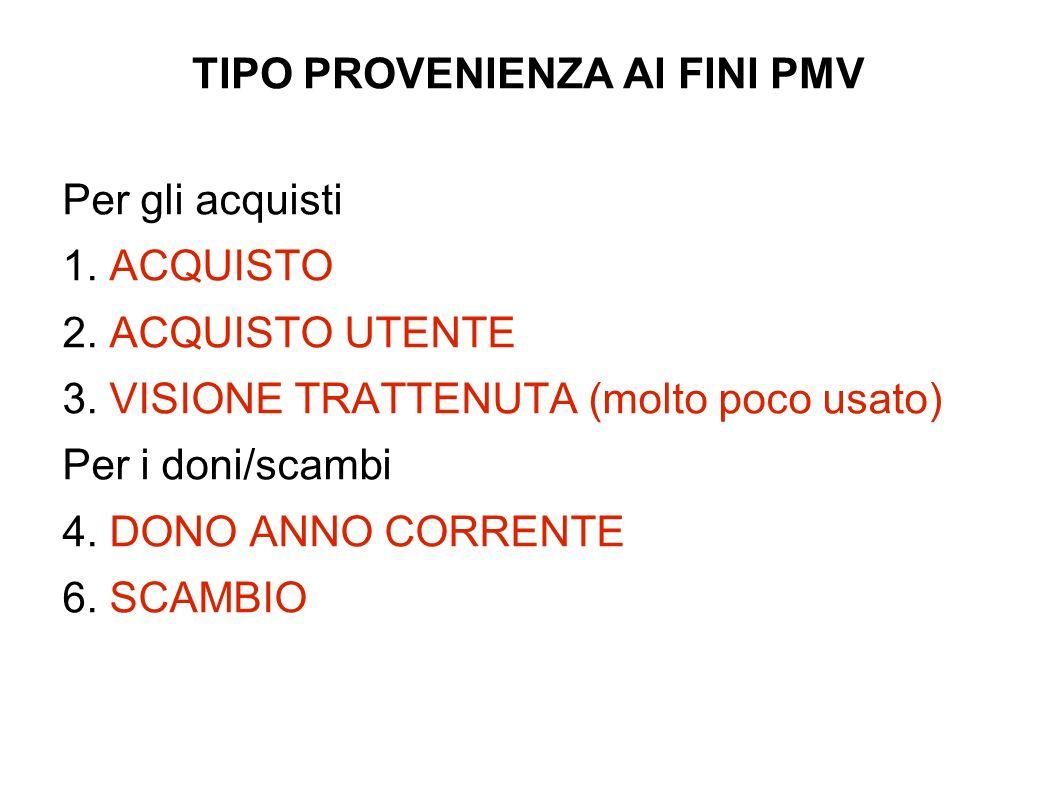 TIPO PROVENIENZA AI FINI PMV Per gli acquisti 1. ACQUISTO 2.