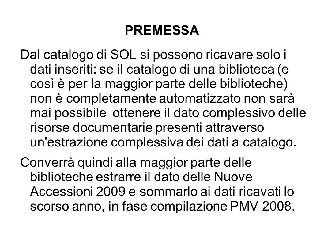 PMV richiede di quantificare i documenti posseduti pubblicati negli ultimi 20 anni.