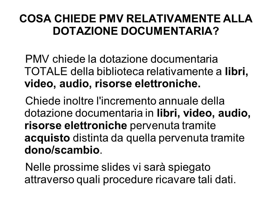 COSA CHIEDE PMV RELATIVAMENTE ALLA DOTAZIONE DOCUMENTARIA.