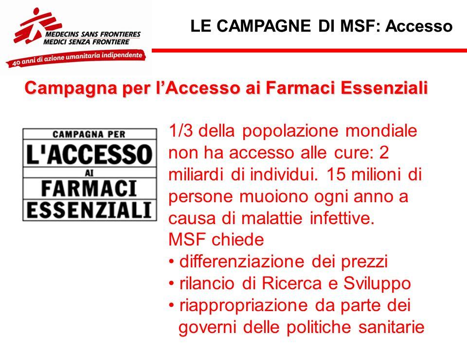 LE CAMPAGNE DI MSF: Accesso 1/3 della popolazione mondiale non ha accesso alle cure: 2 miliardi di individui.