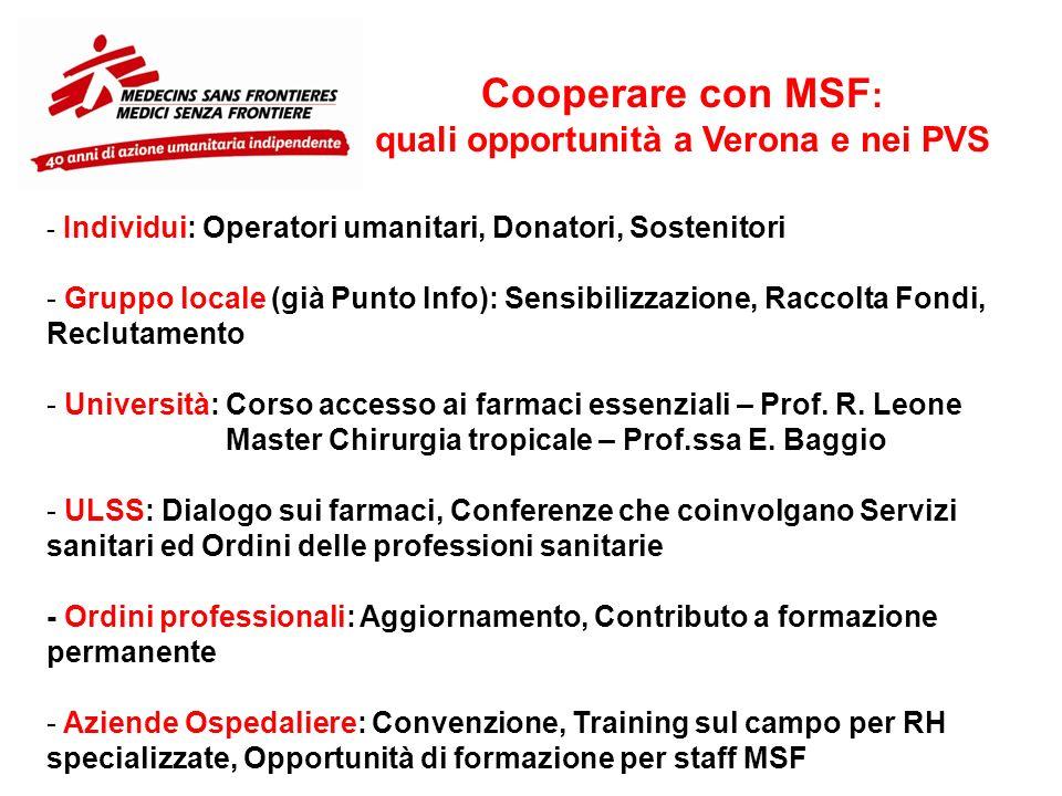 Cooperare con MSF : quali opportunità a Verona e nei PVS - Individui: Operatori umanitari, Donatori, Sostenitori - Gruppo locale (già Punto Info): Sen