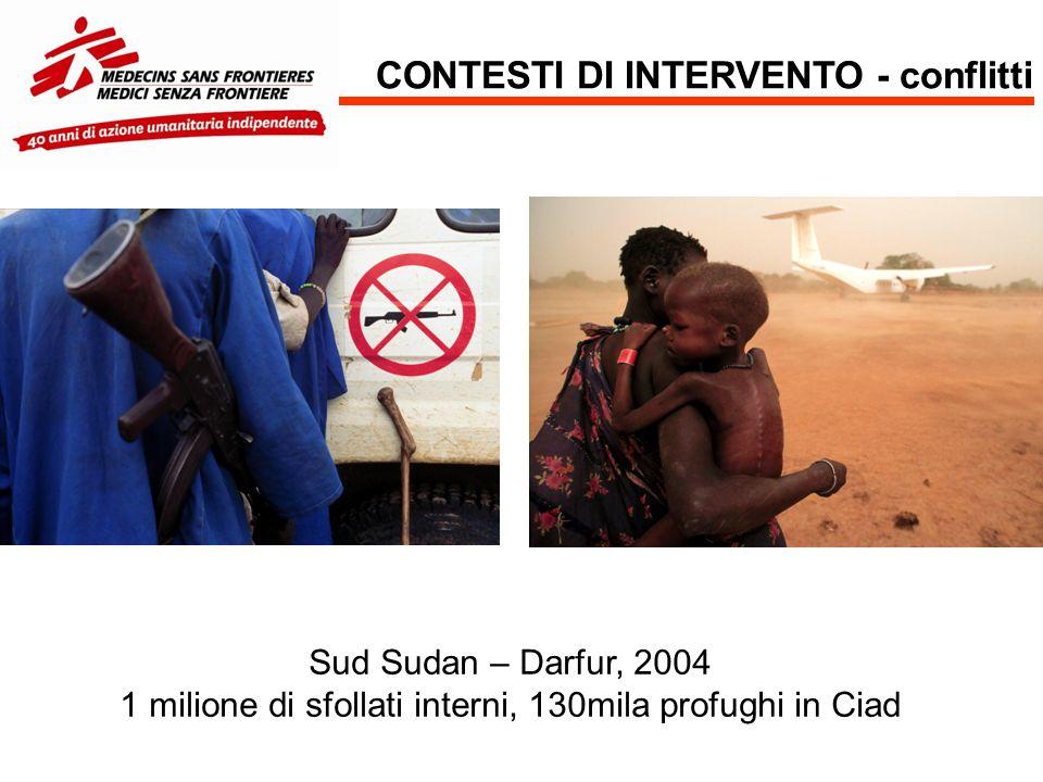 CONTESTI DI INTERVENTO - conflitti Sud Sudan – Darfur, 2004 1 milione di sfollati interni, 130mila profughi in Ciad