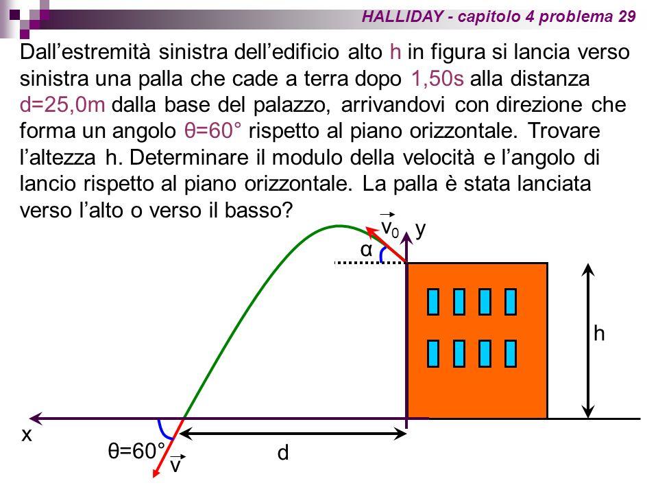 HALLIDAY - capitolo 4 problema 29 Dallestremità sinistra delledificio alto h in figura si lancia verso sinistra una palla che cade a terra dopo 1,50s