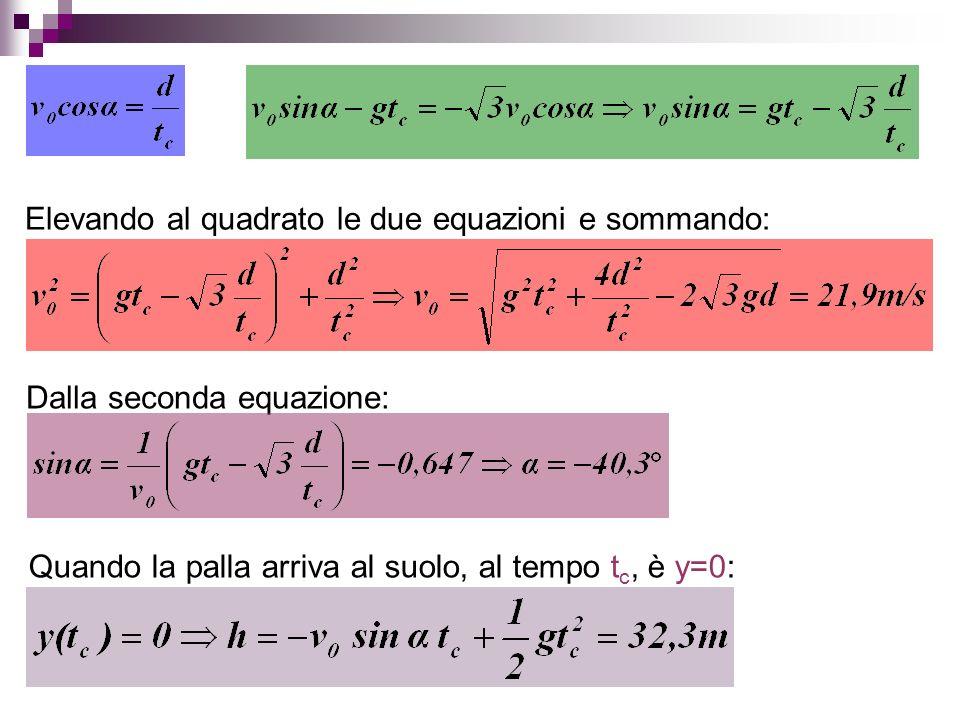 Elevando al quadrato le due equazioni e sommando: Dalla seconda equazione: Quando la palla arriva al suolo, al tempo t c, è y=0:
