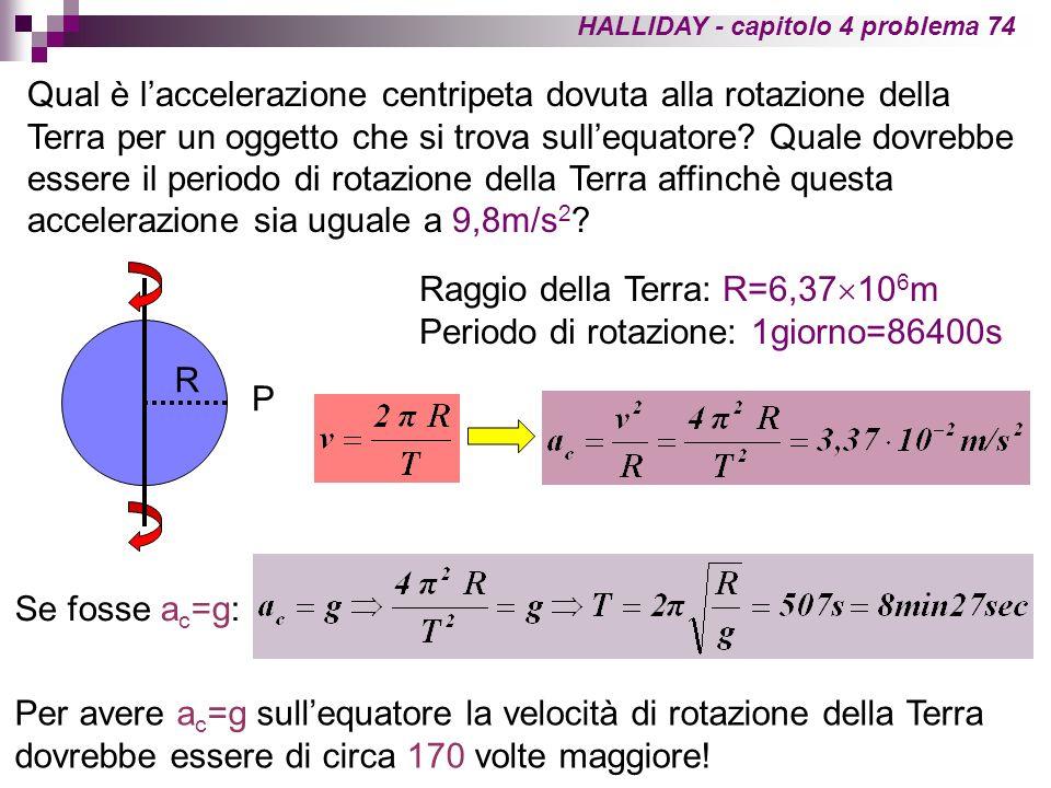 HALLIDAY - capitolo 4 problema 74 Qual è laccelerazione centripeta dovuta alla rotazione della Terra per un oggetto che si trova sullequatore? Quale d
